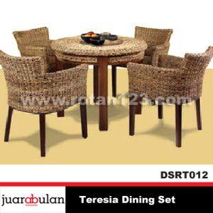 Teresia Dining Set Meja Makan Rotan Alami DSRT012