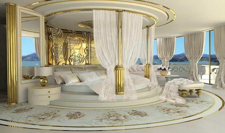 The master cabin is unsurprisingly lavish with a round king size double bed and baldachin and its own terrace with panoramic views