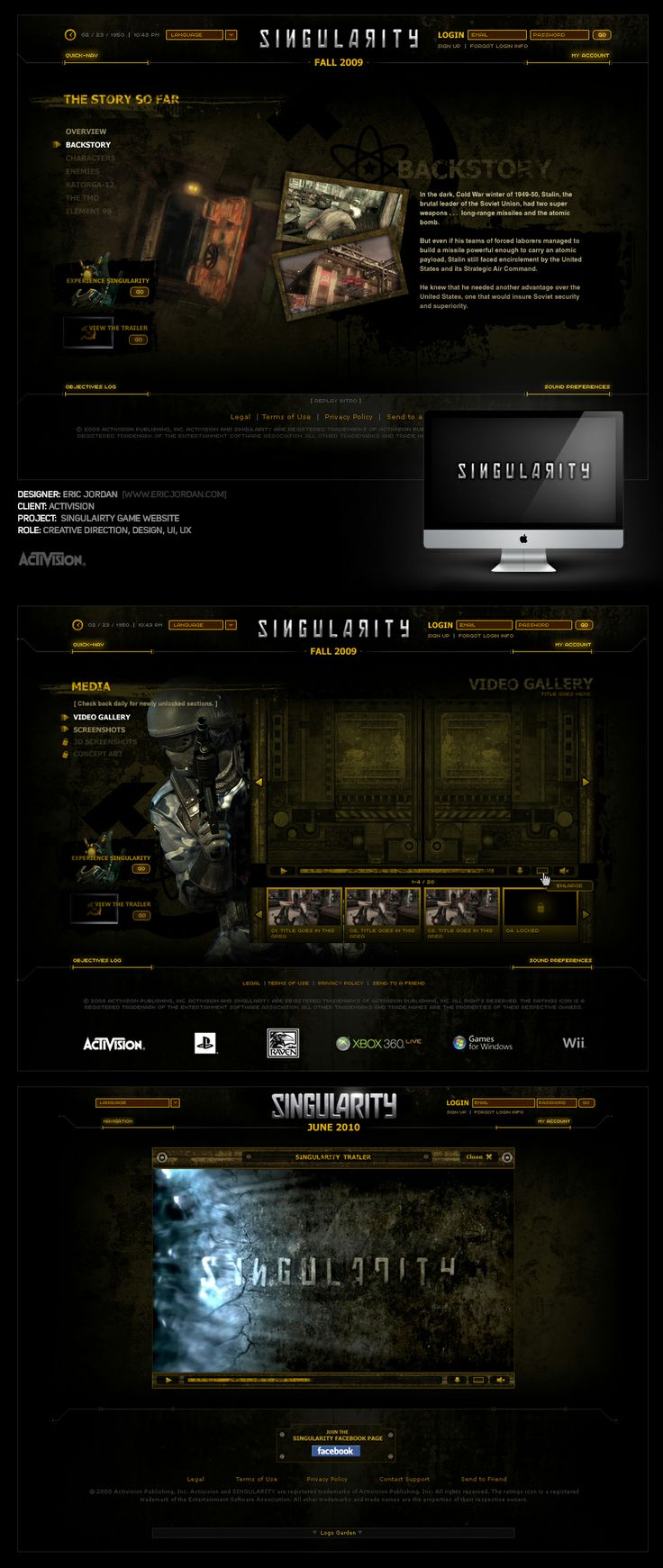Activision: Singularity Launch Website - Designed By Eric Jordan (www.ericjordan.com) #webdesign #graphic #design