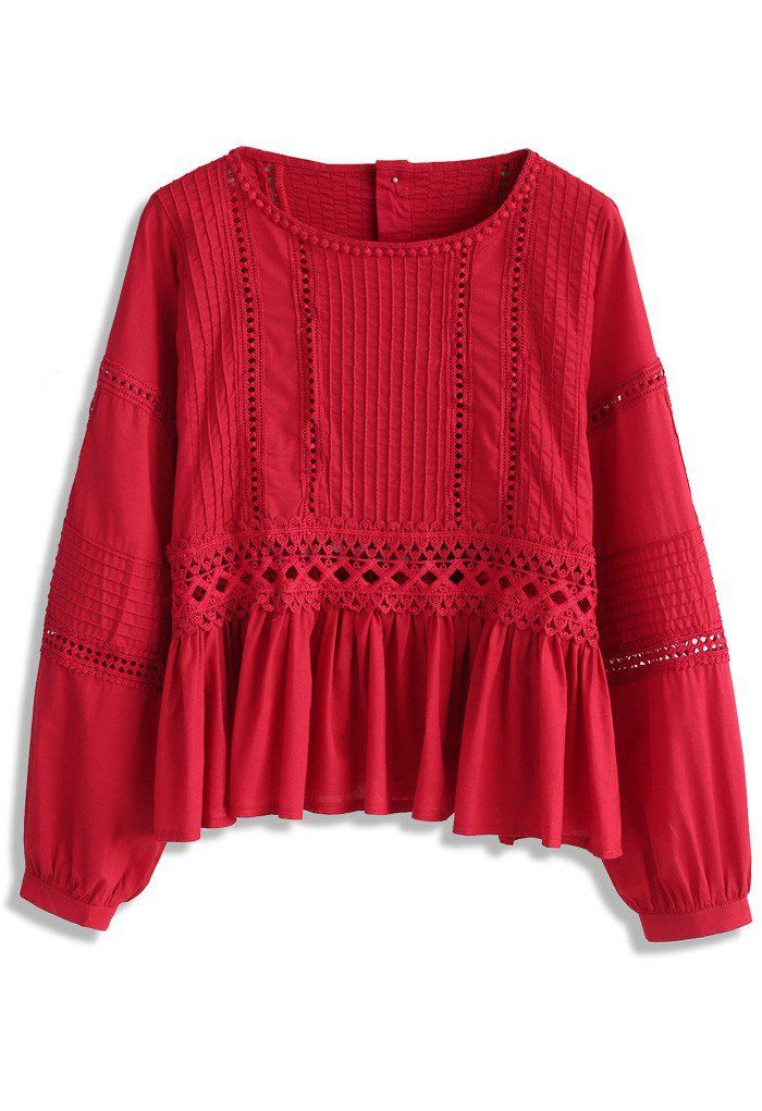 Folksy Vibe Dolly Top in Red - New Arrivals - Retro, Indie and Unique Fashion