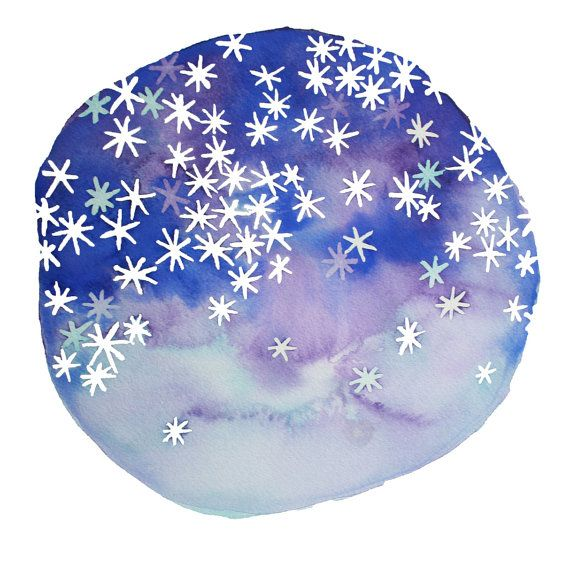 STARS in your EYES abstract watercolor art print in purple, blue and sky on Etsy, $15.00
