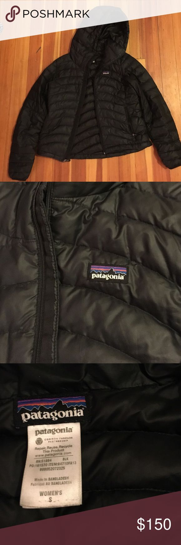 Patagonia down sweater jacket with hood Patagonia down sweater jacket with hood. My favorite jacket thought I lost it and got a new one then found it so selling one. Super warm, like the greatest jacket ever made. 2 outside zipper pockets. Internal pocket. Synced wrist to keep the cold out and adjustable waistline and hood. Fitted too so it looks nice on. Not boxy at all. Patagonia Jackets & Coats Puffers