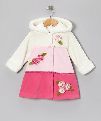 Pink Color Block Fleece Hooded Swing Coat - Infant