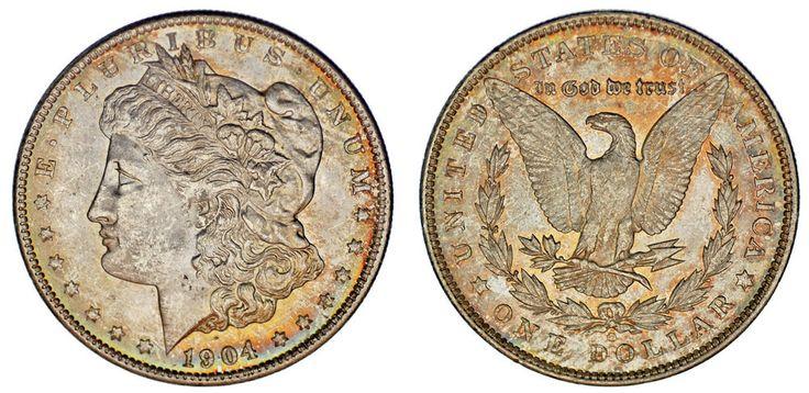 1 SILVER US DOLLAR NEW ORLEANS /1 DÓLAR MORGAN NUEVA ORLEANS. 1904 O. AU/SC-.