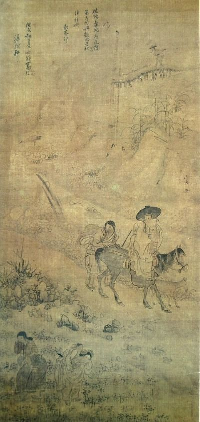 (Korea) 파안흥취 1778 Folder Screens by Kim Hong do (1745-1806). color on paper. National Museum of Korea.