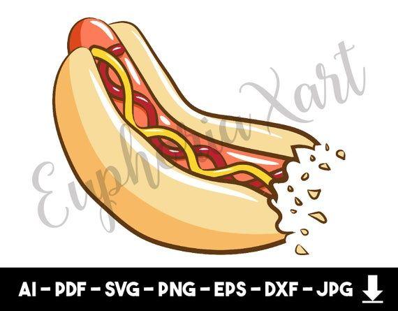 Hotdog Svg Hotdog Clipart Hotdog Cricut Hot Dog Meal Fast Etsy Clip Art Svg Logo Illustration