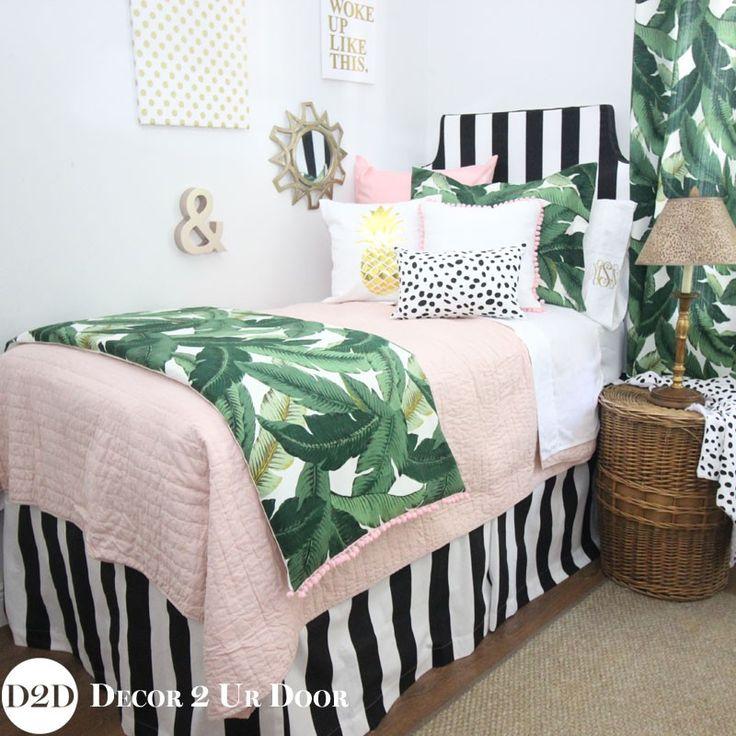 Palm Leaf, Black, White & Blush Pink Quilt Designer Teen Girl Bedding Set