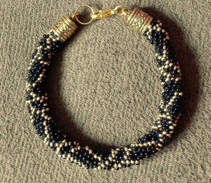 Black Gold, Beaded Rope, Bracelet, Peyote, Rope Bracelet, Bead Crochet Bracelet, Geometric Bracelet, Rock Bracelet, Elegnt by IMAGINARIUM2015 on Etsy