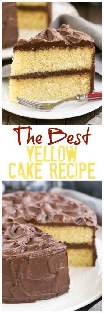 Perfect Yellow Cake Recipe with Chocolate Buttercream   An exquisite, tender yellow cake topped with dreamy chocolate frosting! @lizzydo