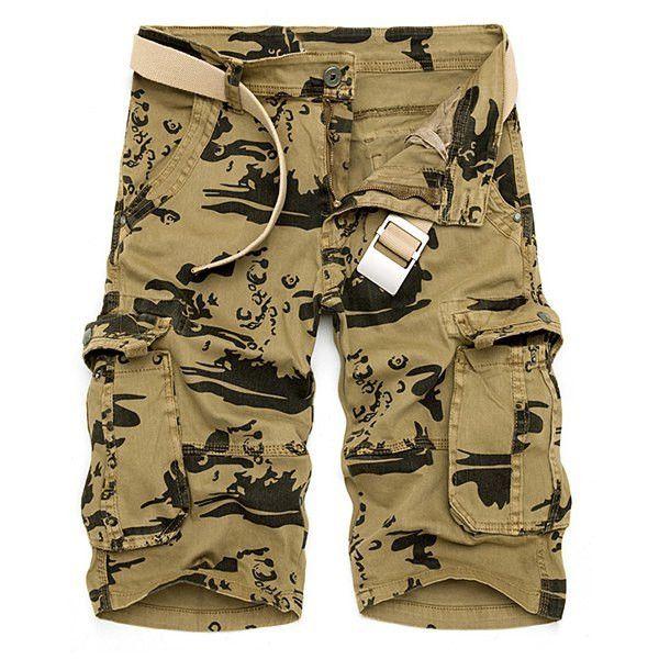Multi-Pocket Loose Fit Straight Leg Zipper Fly Camo Cargo Shorts For Men