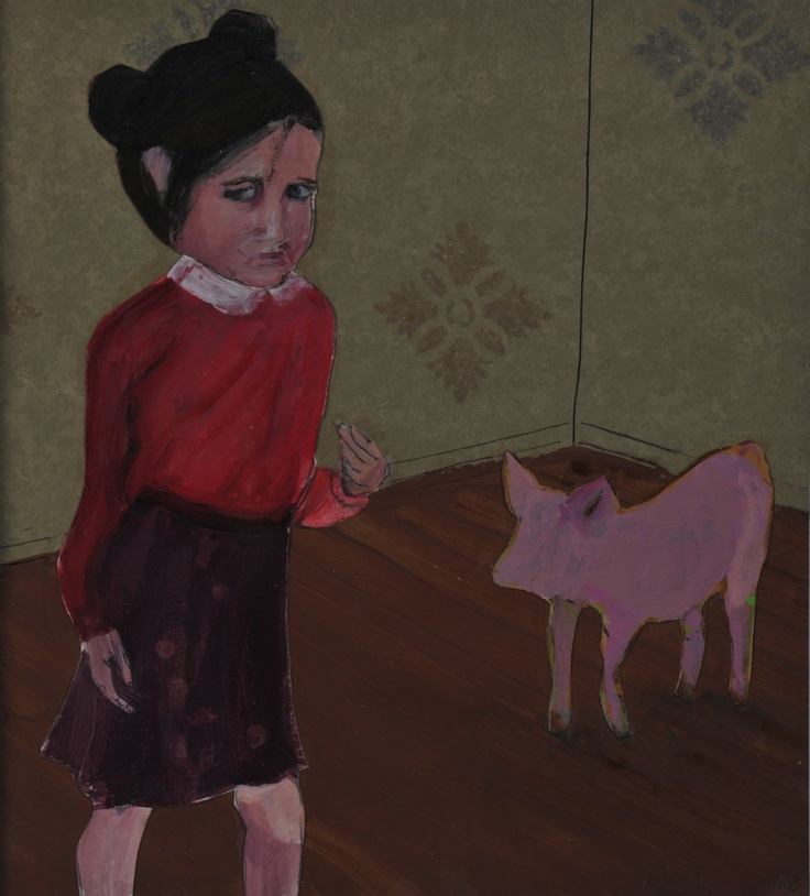 """""""Untitled (Girl/Pig)"""" by Marie Van Elder in De Canvascollectie / La Collection RTBF on http://gallery2012.canvas.be/wiels/untitled-girlpig/"""