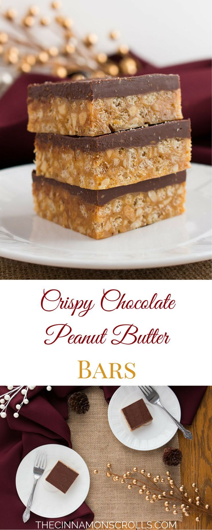 Crispy, chewy, peanut buttery, chocolatey deliciousness all wrapped up in a neat little bar! Perfect for holiday dessert trays, sharing with family and friends, and generally making your life better. These squares are my family's go-to Christmas treat!| thecinnamonscroll... @Amanda | The Cinnamon Scrolls