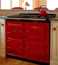 Aga Four-Oven Cooker - from Remodelista...yeeeeeaaaaasssssss!!! I love this!!! I would want another color besides red though...
