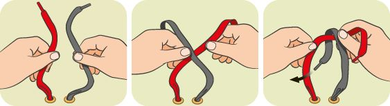 Take a shoelace in each hand; cross one lace over the other, halfway up; poke the end of the lace through the hole