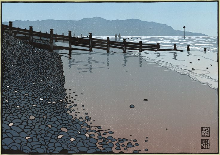Mid-wales linocut artist Ian Phillips - groynes at Borth Beach