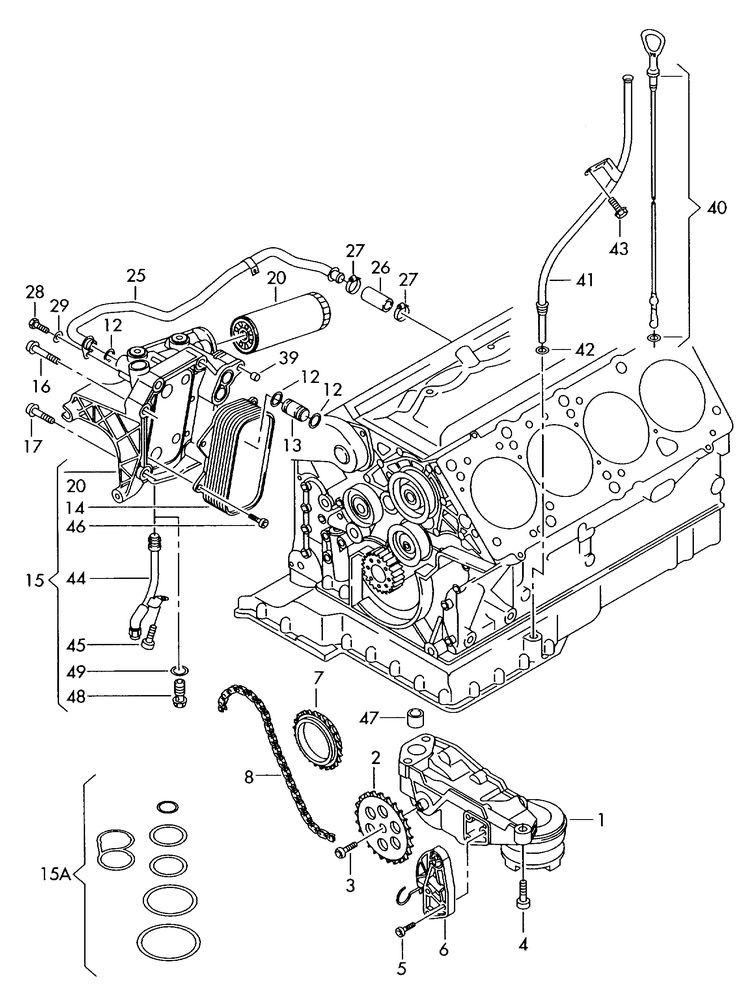 Engine Audi A6Q 2001 oil pump oil filter oil filter