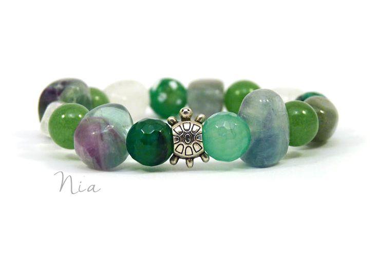 Mixed green gemstone bracelet (fluorite, agate, aventurine, rock crystal) with turtle :) #niaásvány #zöld