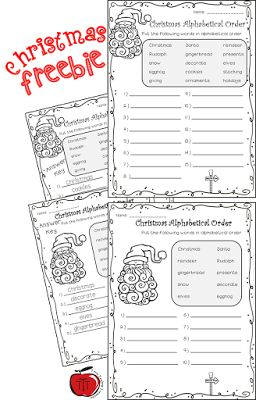 Free Christmas Alphabetical Order   Are you looking for a low prep Christmas literacy activity for your students? If so check out these fabulous Christmas alphabetical order worksheets.  I have students working at many different levels and a group of them are slower than molasses finishing anything so I created 2 versions of the same thing. One version has 15 words and the other only 10. Students will get practice looking beyond the first letter of the word to put them in order (This is much…