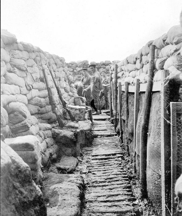Men at work in the fire trenches in the stretch of the line held by Harry Colver's own A Company