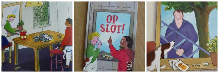 Op Slot: verhaal met voldoende spanning voor kinderen. Samen met de kleurrijke tekeningen een goed recept om met plezier te lezen. Ook als je dyslexie hebt.