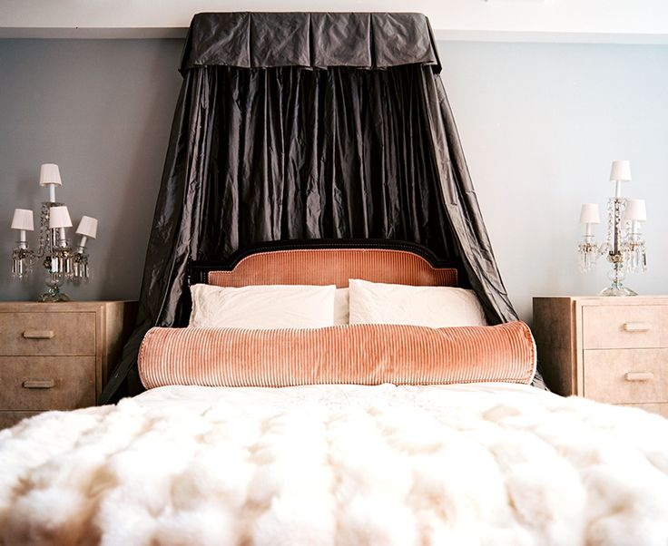 smoky gray canopy peach colored headboard faux fur