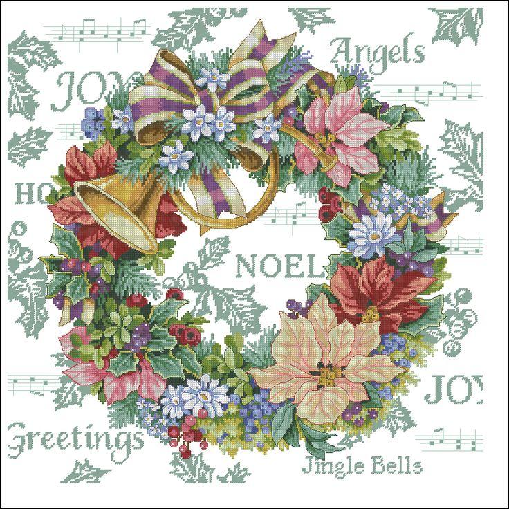 Google Afbeeldingen resultaat voor http://cross-stitching-blog.ru/wp-content/uploads/2010/03/Dimensions_08662_Holiday_Harmony_Wreath.jpg