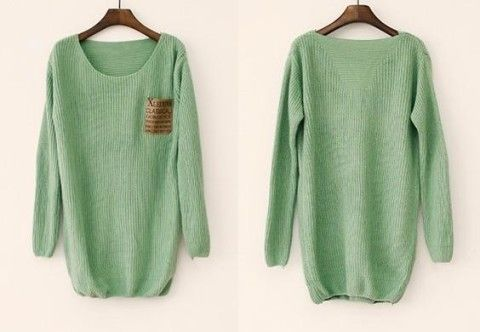Mint Loose Sweater With Leather Pac..