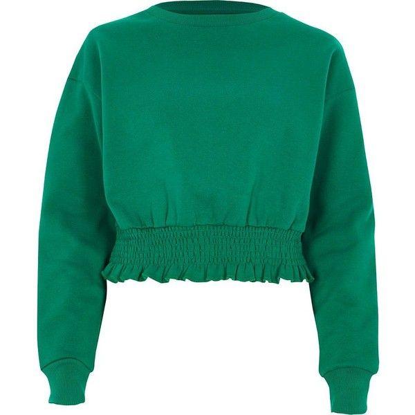 River Island Green shirred hem cropped sweatshirt ($52) ❤ liked on Polyvore featuring tops, hoodies, sweatshirts, sweaters, green, hoodies / sweatshirts, women, hoodie sweatshirts, cropped hoodie and crew-neck sweatshirts