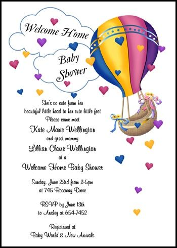 ensure your welcoming home mom and new baby shower invitation with hearts hot air balloon is a special party invite for a big welcome for mom and baby at InvitationsByU.com, like card 7679IBU-WH and save with tons of freebies, discounts, and other special promotions