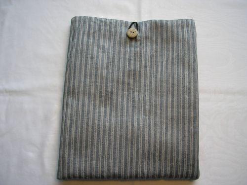 i-Pad/Tablet cover Silver Grey Stripe Cotton Jacquard