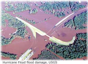 Photograph showing flood damage from Hurricane Floyd.