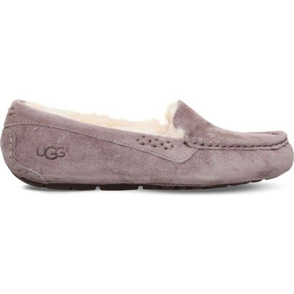 UGG Ansley suede moccasin slipper ($105) ❤ liked on Polyvore featuring shoes, suede shoes, ugg, moccasin style shoes, mocassin shoes and suede leather shoes