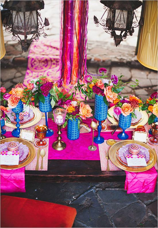 East meets West wedding ideas: colorful tablescape