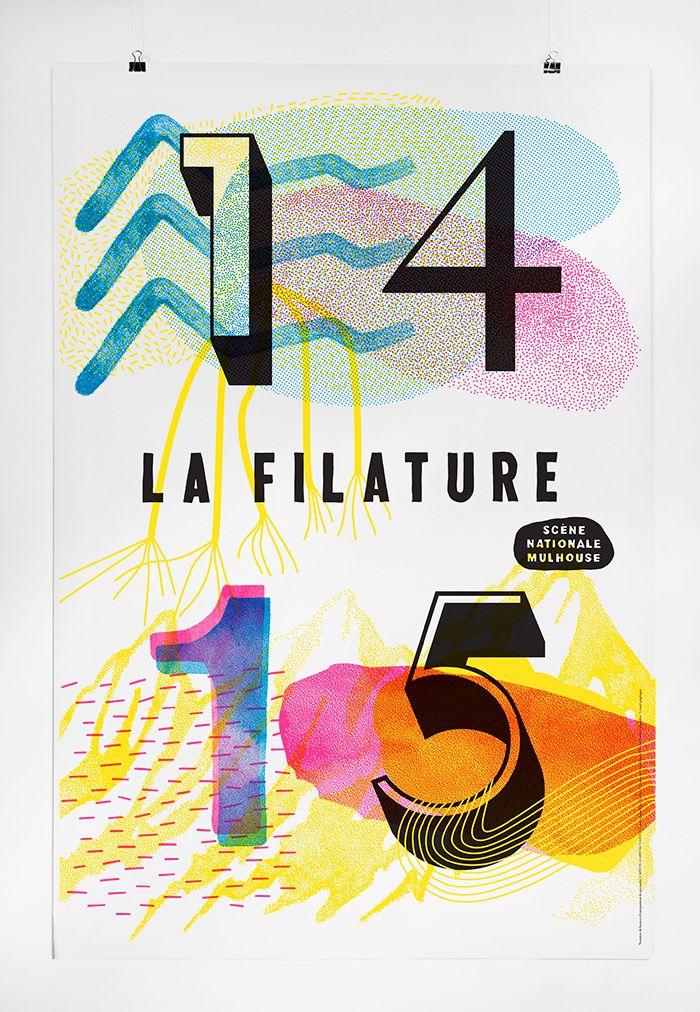 LA FILATURE SAISON 2014 - 2015 Scène nationale - Mulhouse.  Impression : Snel, Sérigraphie : Lézard graphique By Atelier 25