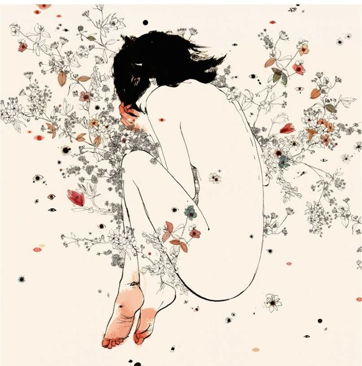 """Illustration by Conrad Roset, featured in SHARE from New Heroes & Pioneers, a book you will want to get rid of. """"I have chosen Cicuta, because it's my preferred piece of my latest exhibition. I like the composition and the soft colours, the enigmatic position of the girl, because you can't know if she is sleeping or has died. I also love the atmosphere that creates the little flowers around the nude girl."""" www.conradroset.com"""