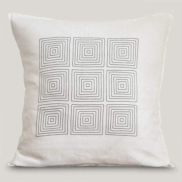 Almofada Linho Napoli Quadrados Marfim #ItsyDesign #decoração #interiores