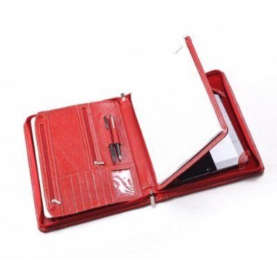 Leather Zip-Close Portfolio to Fit iPad Air 2 / iPad Air, a Letter-Size Notepad and 11-inch MacBook, Red