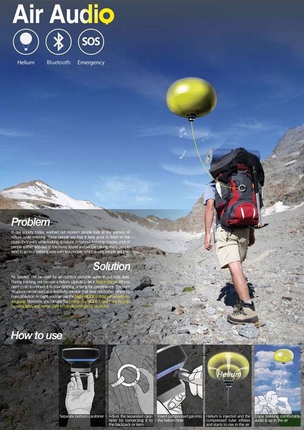 Globo Pop Air Audio - Air Speaker and Distress Signal Balloon por Yu Jin Park