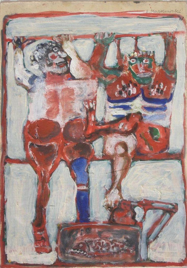 Eugeniusz MARKOWSKI ,Na trzepaku , olej, tektura, 35 x 25 cm