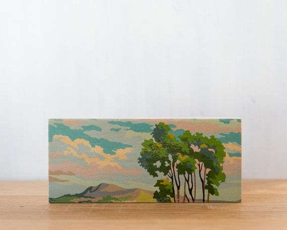 Paint by Number Art Block 'Tree Branches' - vintage, trees, landscape, sky