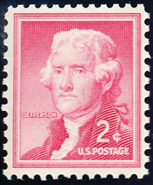The two cent stamp paid the postcard rate at the time. This was the last definitive set which used traditional colors for the lower values. From 1954, Thomas Jefferson.