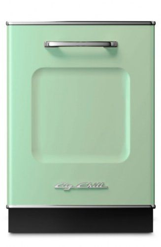 Big Chill Retro Dishwasher 24 in. wide - Jadite Green Stamped metal body. Authentic chrome trim. Energy Star rated (334 kWh/yr). Holds 14 place settings. Sound reduction system.  #Big_Chill #Major_Appliances