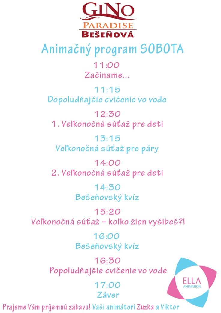 Animačný program na sobotu
