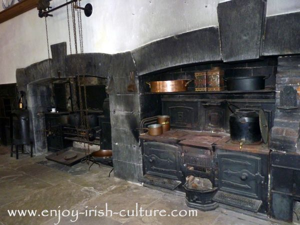 Big Houses in Ireland- Victorian ovens at Strokestown Park House, County Roscommon Ireland, took a lot of labour to keep going and to maintain. Click on the photo to read our article on servants at the Irish big house.