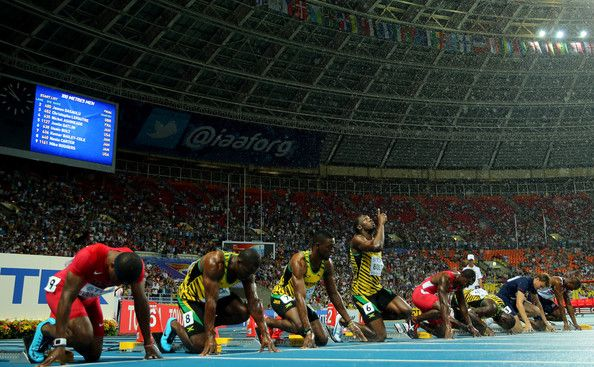 (L-R) Mike Rodgers of the United States, Nesta Carter of Jamaica, Kemar Bailey-Cole of Jamaica, Usain Bolt of Jamaica, Justin Gatlin of the United States, Nickel Ashmeade of Jamaica, Christophe Lemaitre of France and James Dasaolu of Great Britain at the start of the Men's 100 metres Final  competes in the Men's 100 metres Final during Day Two of the 14th IAAF World Athletics Championships Moscow 2013 at Luzhniki Stadium on August 11, 2013 in Moscow, Russia.