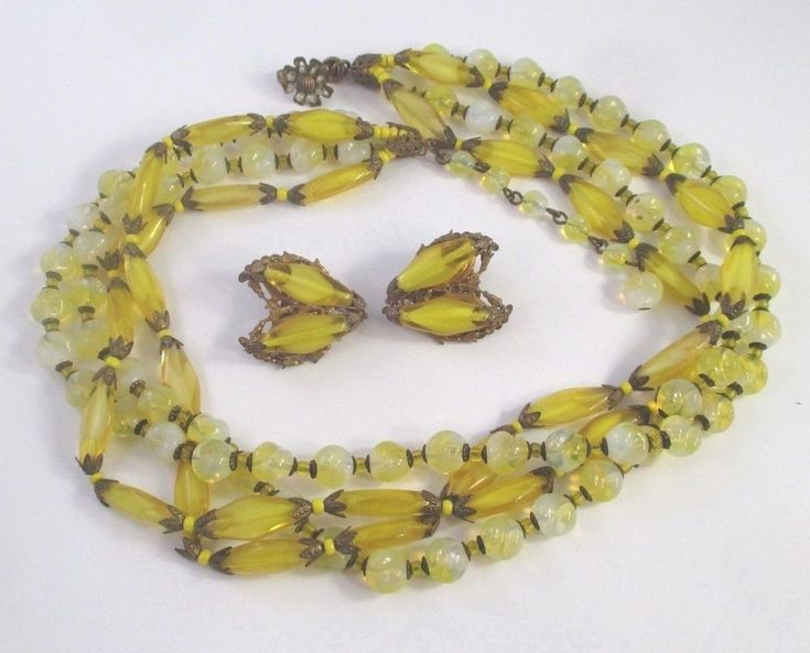 Vtg MIRIAM HASKELL YELLOW ART GLASS 4 STRAND BEADED NECKLACE + CLIP EARRING SET #MiriamHaskell #vintagejewelry