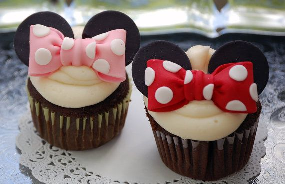 Minnie Mouse Edible Fondant Bows with Ears by BigRiverCrafts