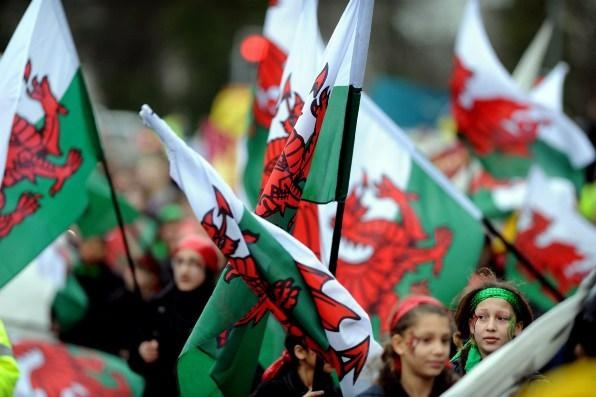 St.David's day parade march through Cardiff City centre. March 1, 2013