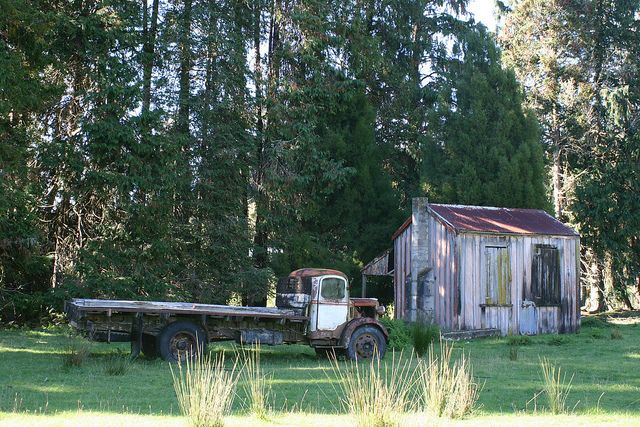 Flatbed Truck and Farming Shed Farm Retaruke Kaitieke Abandoned in New Zealand by eriagn, via Flickr