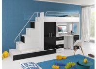 Łóżko piętrowe z biurkiem i szafą ubraniową.